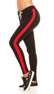 Trendy joggers with contrast stripes, black Red