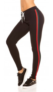 Trendy joggers with contrast stripes, black Redgreen