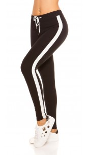 Trendy joggers with contrast stripes, black White
