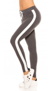Trendy joggers with contrast stripes, grey White