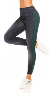 Trendy Thermo Jeanslook leggings with stripes Green