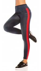 Trendy Thermo Jeanslook leggings with stripes Red