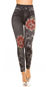 Sexy THERMO Jeanslook Leggings with flower print Black