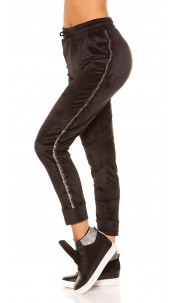 Trendy Nicki Workout pants with glitter trim Black