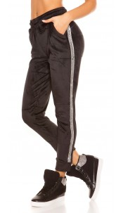 Trendy velvet look joggers with glitter stripes Black