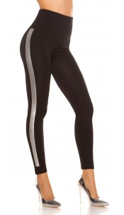 Trendy thermo leggings with contrast stripes Blacksilver