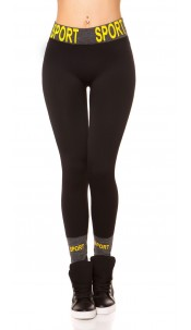 """Trendy Thermo Workout Leggings """"SPORT"""" Black"""