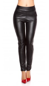 Sexy Wetlook Leggings with pockets Black