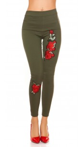 Sexy thermal treggings with patch Khaki