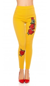 Sexy thermal treggings with patch Mustard