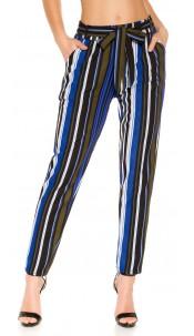 Trendy Bouclé cloth pants with belt Blue