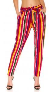 Trendy Bouclé cloth pants with belt Mustard