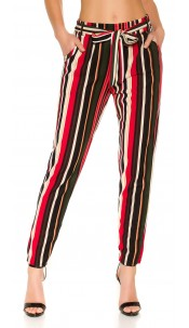 Trendy Bouclé cloth pants with belt Red