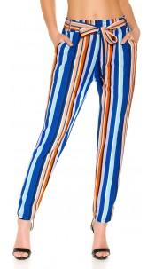 Trendy Bouclé cloth pants with belt Turquoise