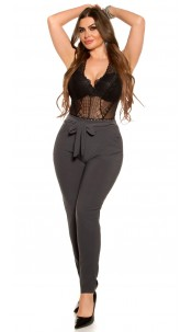 CurvyGirlsSize! Sexy businesslook pants with loop Anthracite
