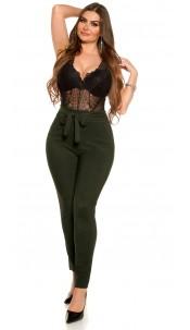 CurvyGirlsSize! Sexy businesslook pants with loop Darkgreen