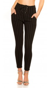 Trendy pinstripe leggings with lacing Black
