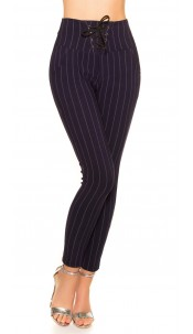 Trendy pinstripe leggings with lacing Navy
