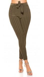 Trendy pinstripe treggings with belt Khaki