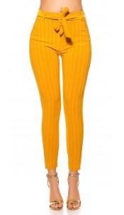 Trendy pinstripe treggings with belt Mustard
