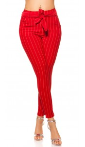 Trendy pinstripe treggings with belt Red
