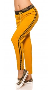Trendy joggers with camouflage stripes Mustard