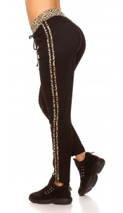 Trendy Joggers with leo stripes Black