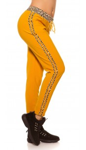 Trendy Joggers with leo stripes Mustard
