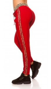 Trendy Joggers with leo stripes Red