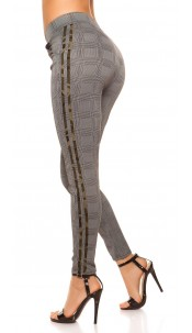 Sexy treggings checkered with contrast stripes Army
