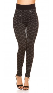 Sexy leggings with glitter threads and patterns Silver