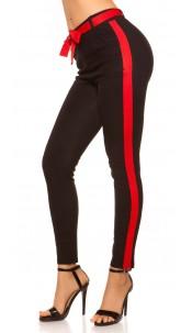 Trendy treggings with contrast stripes & belt Blackred