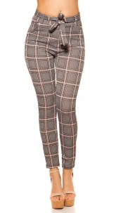 Trendy treggings plaid with belt Pink