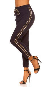 Trendy Jogging pants with leo contrast stripe Navy