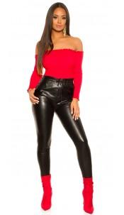 Trendy Leatherlook Jogpants Black