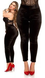 Curvy Girls Size! Thermo Leggings velvet look Black