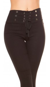 Sexy high waist thermo treggings with lacing Black
