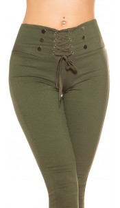 Sexy high waist thermo treggings with lacing Khaki