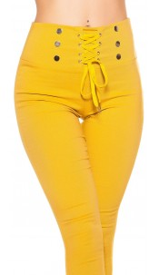 Sexy high waist thermo treggings with lacing Mustard