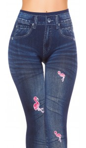 Sexy jeans look thermo leggings with flamingos Blue