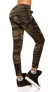 Trendy Camouflage Thermo Treggings Khaki