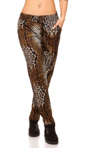 Trendy loose fit Thermo Joggers Animal Print Brown