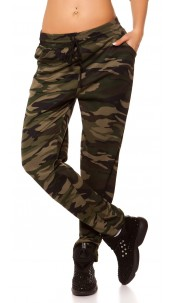 Trendy thermal joggers in camouflage Khaki