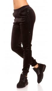 Trendy velvet look Thermo Joggers Black