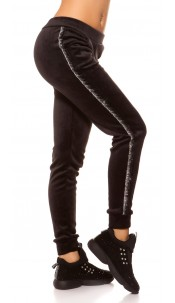 Trendy velvet look Thermo Joggers Blacksilver
