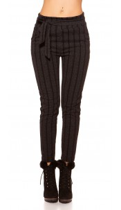 Trendy Business Look Treggings striped Anthracite