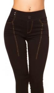 Trendy Dark Denim Look Leggings with studs Black