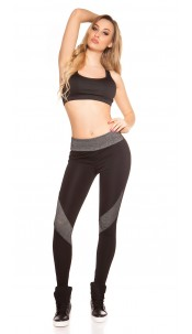 Sexy Workout Leggings with net Grey