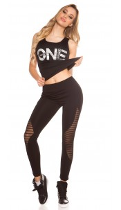Sexy Workout Leggings with Mesh Black