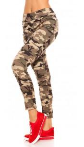 Trendy camouflage look leggings with zips Beige